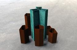 Vasi Minareto, acciaio corten, design by Valentina De Carolis