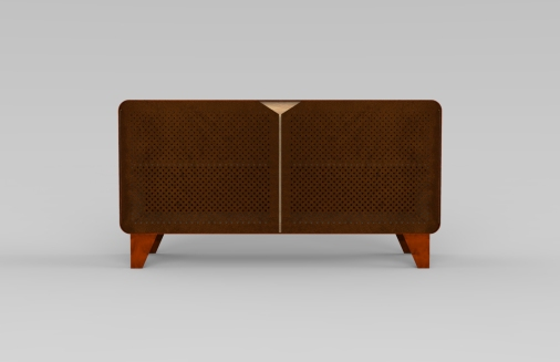 Sideboard, acciaio corten e rovere, design by Valentina De Carolis